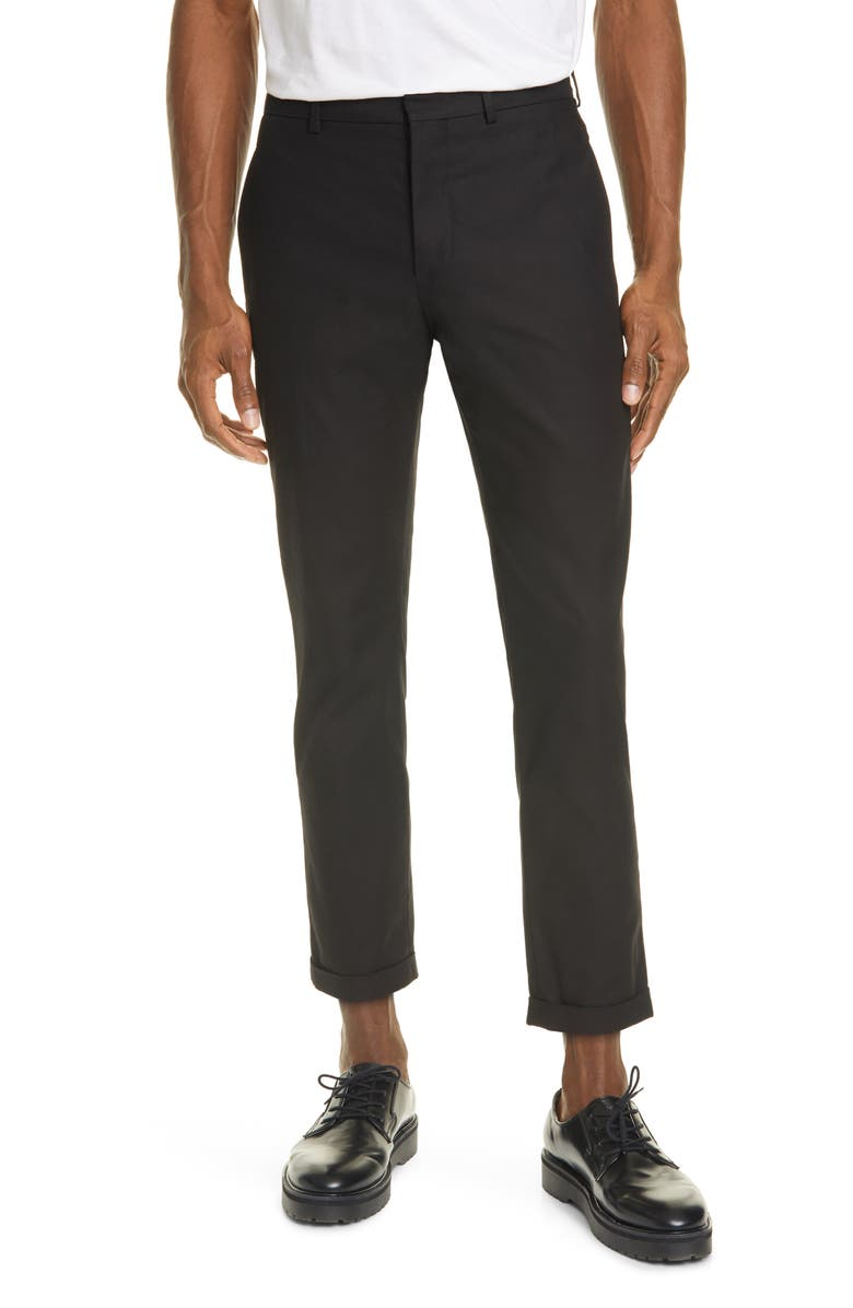 MARNI Compact Cotton Twill Crop Trousers, Main, color, BLACK