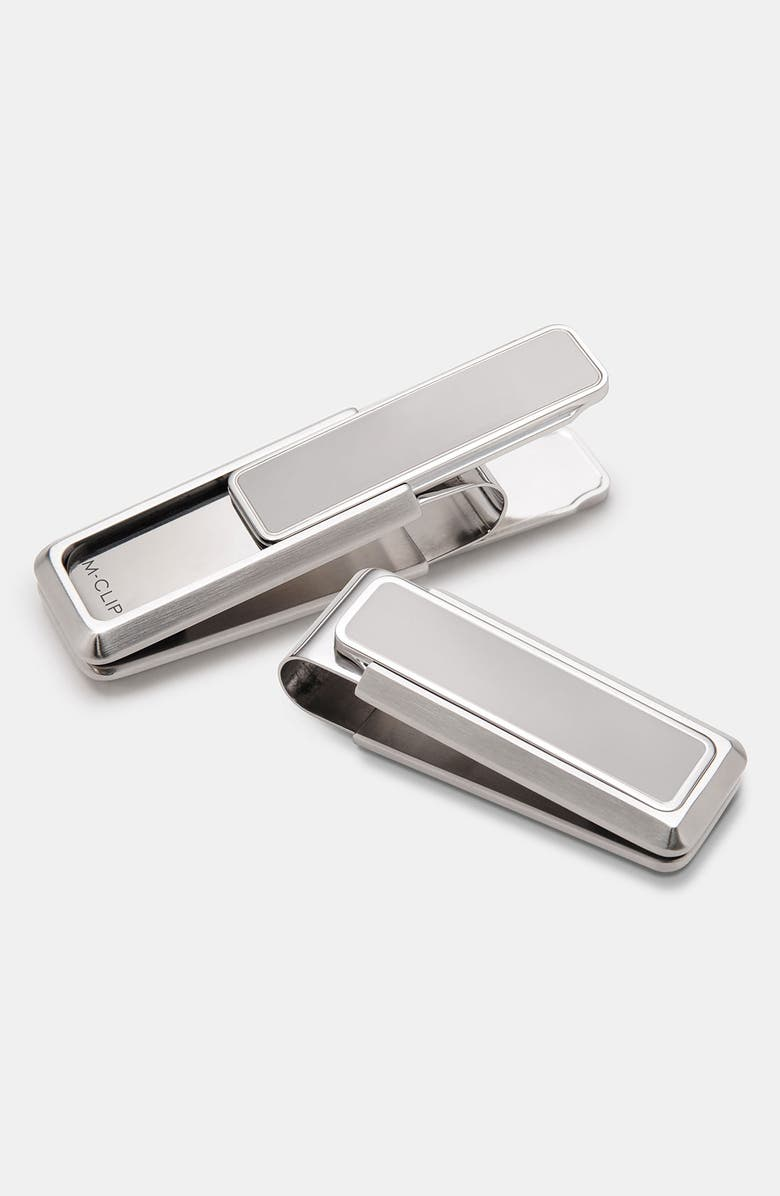 M-CLIP<SUP>®</SUP> Polished Border Money Clip, Main, color, SILVER
