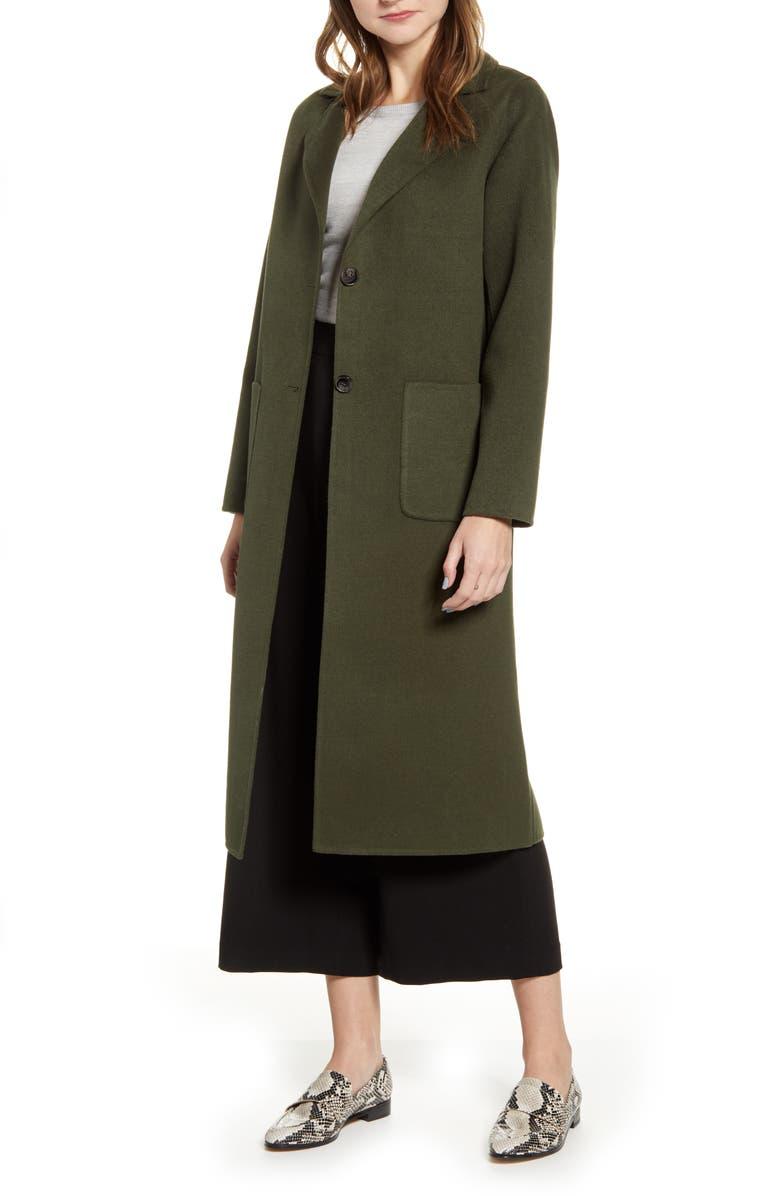 HALOGEN<SUP>®</SUP> Double Face Long Coat, Main, color, OLIVE