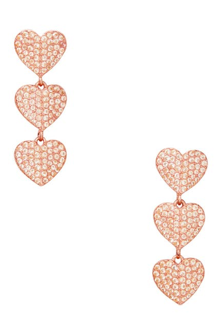 Image of kate spade new york heart to heart pave cz triple drop earrings