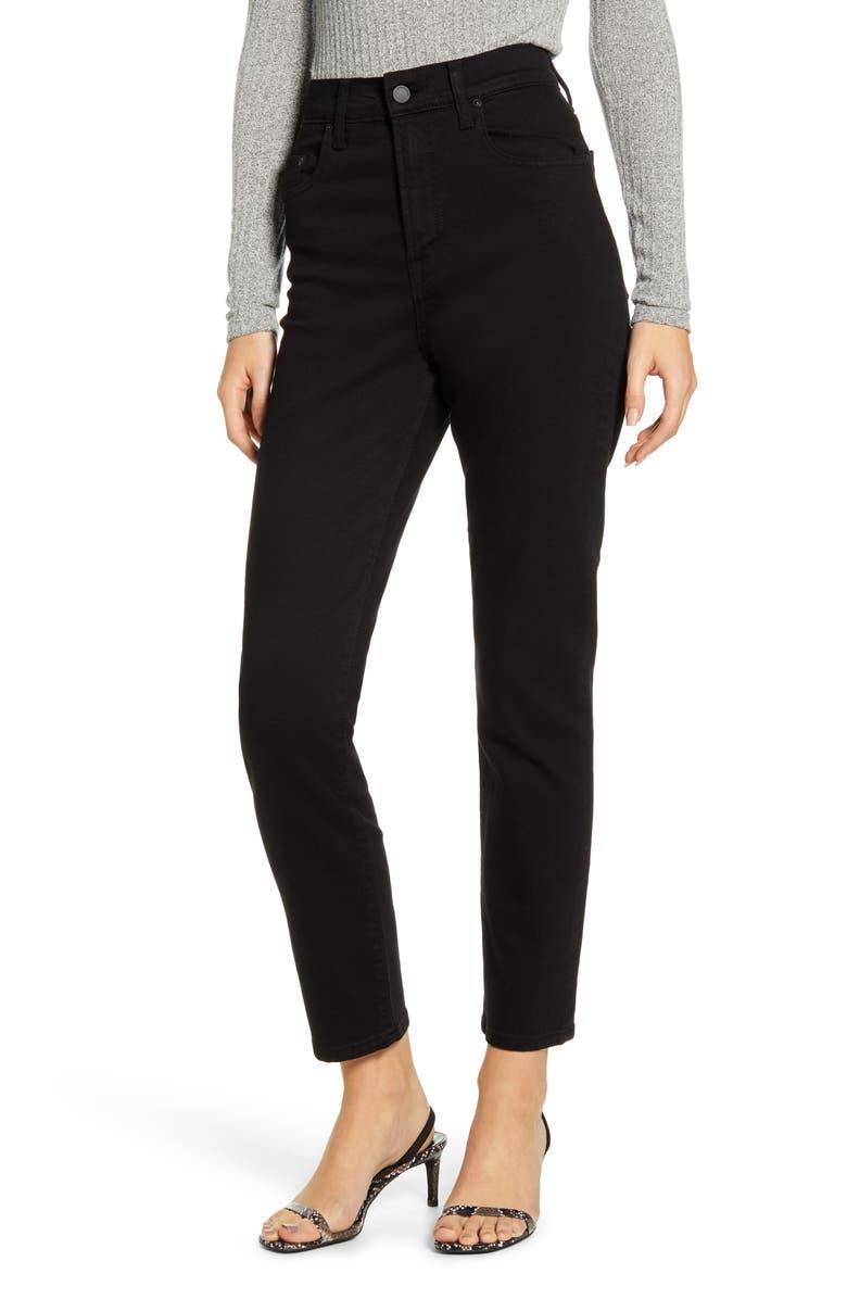 NOBODY DENIM Frankie High Waist Ankle Skinny Jeans, Main, color, PURE BLACK
