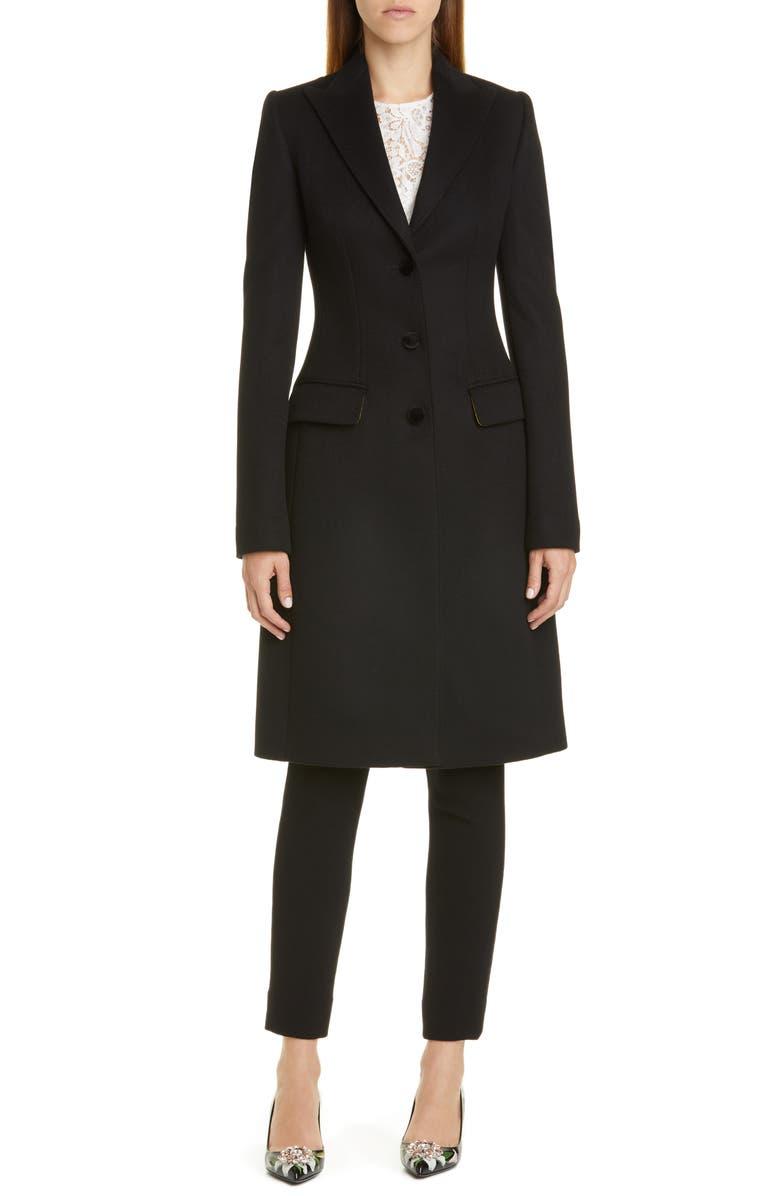 DOLCE&GABBANA Velvet Button Wool & Cashmere Coat, Main, color, BLACK