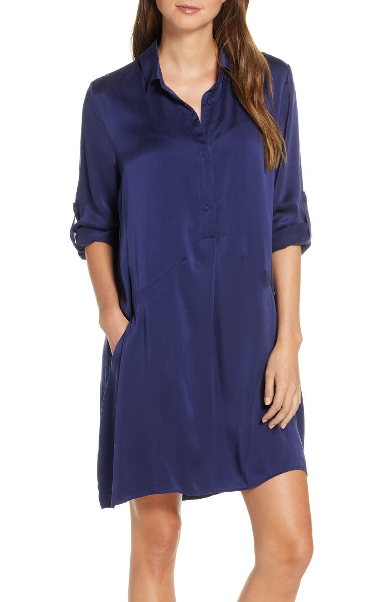 PAPINELLE Silk Nightshirt, Main, color, NAVY