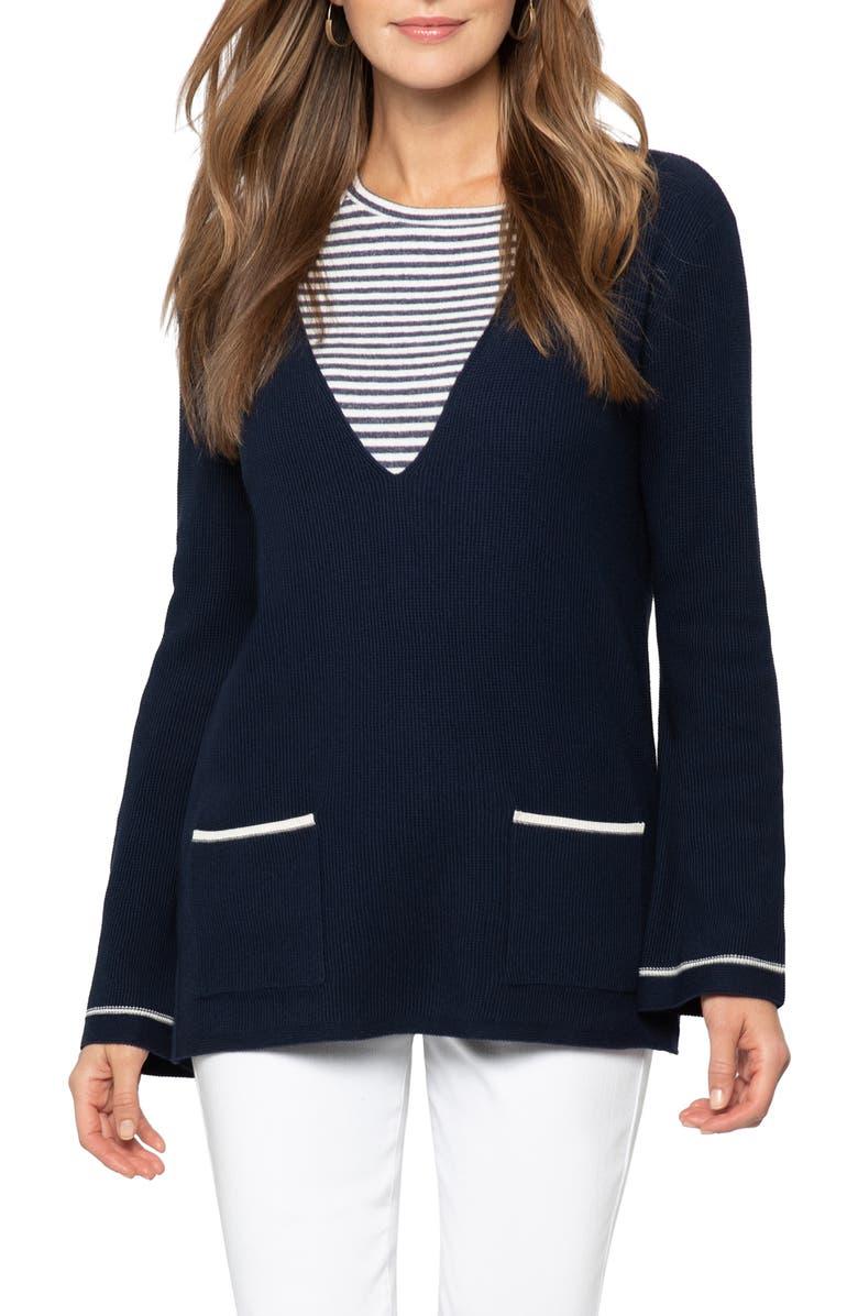 NIC+ZOE V-Neck Sweater, Main, color, DARK INDIGO
