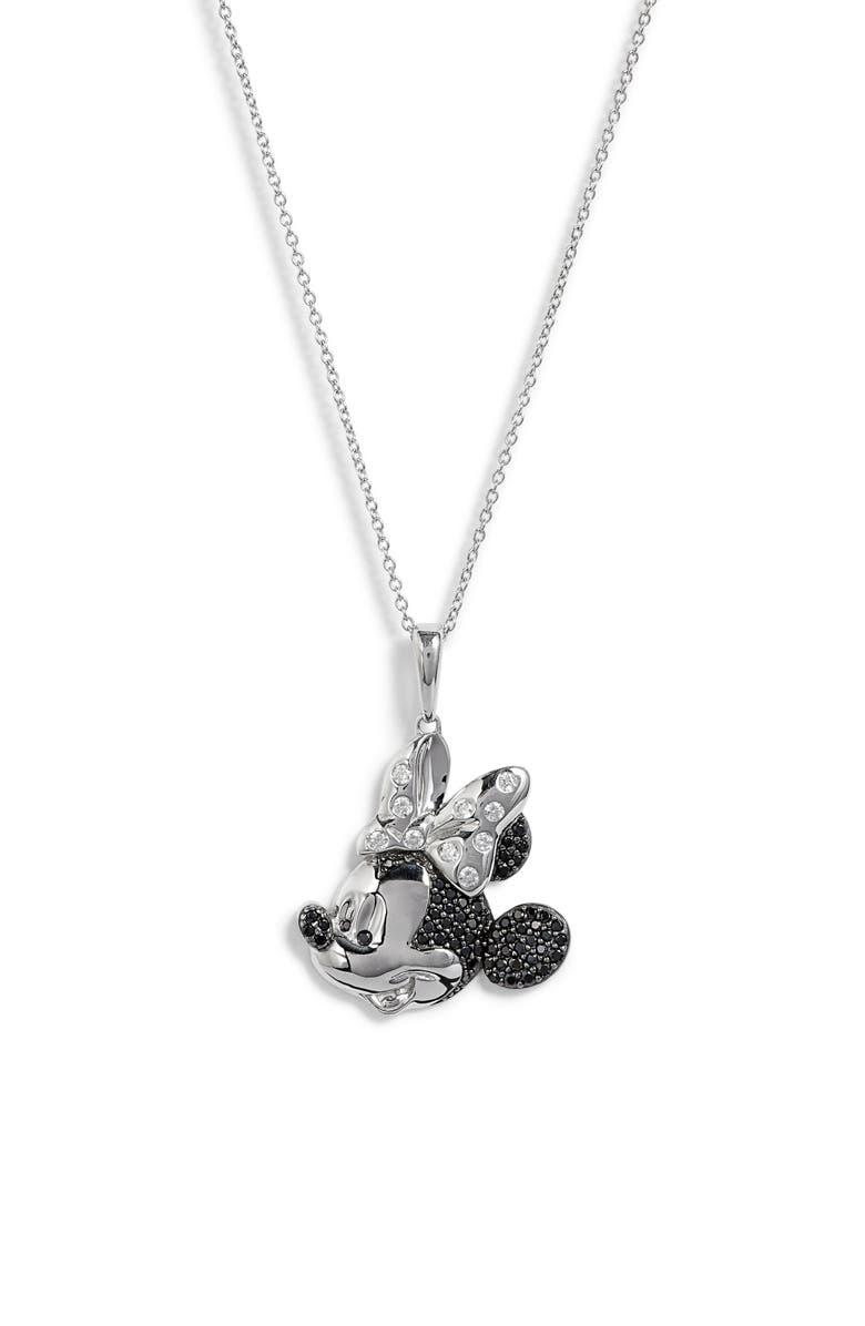 DISNEY Minnie Multitone Crystal Pavé Pendant Necklace, Main, color, 040