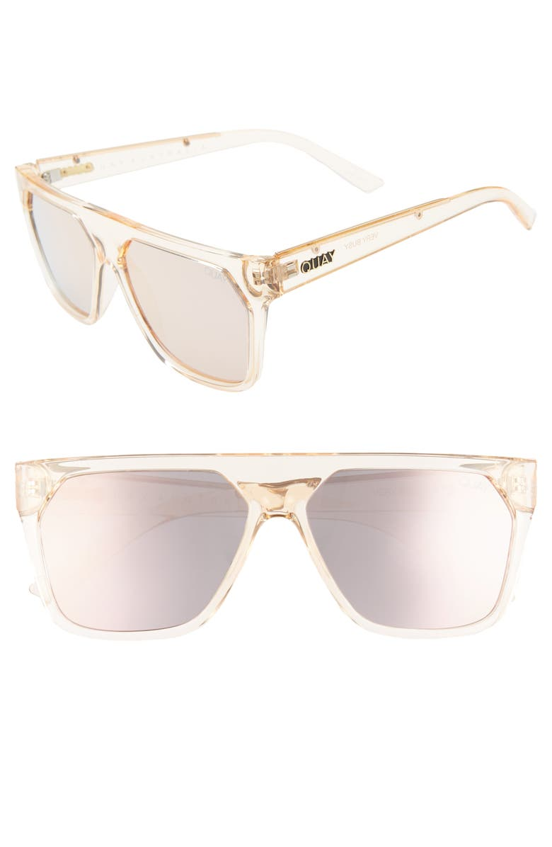 QUAY AUSTRALIA x Jaclyn Hill Very Busy 58mm Shield Sunglasses, Main, color, 250