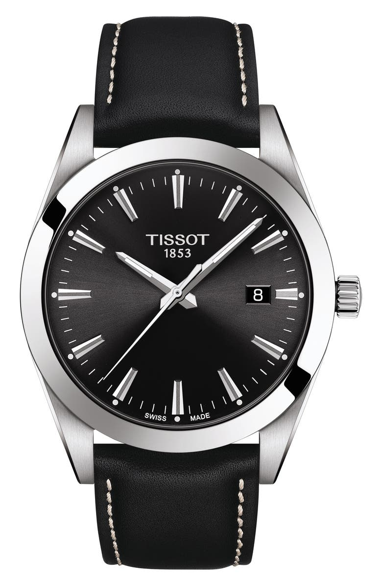 TISSOT T-Classic Gentleman Leather Strap Watch, 40mm, Main, color, BLACK/ SILVER