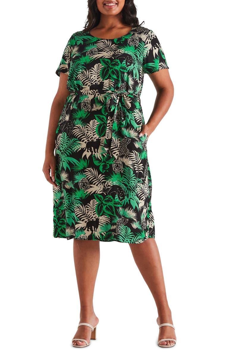 ESTELLE Panther Print Belted Midi Dress, Main, color, PRINT
