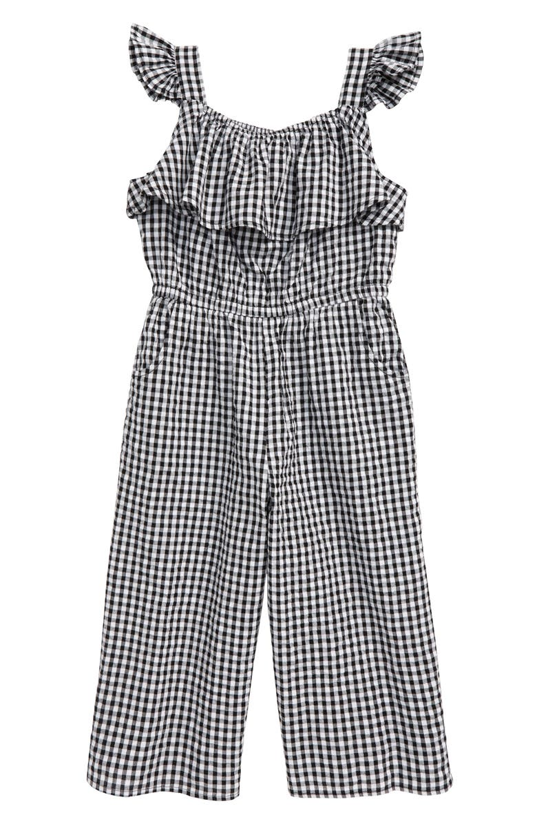 TUCKER + TATE Gingham Jumpsuit, Main, color, BLACK- WHITE GINGHAM