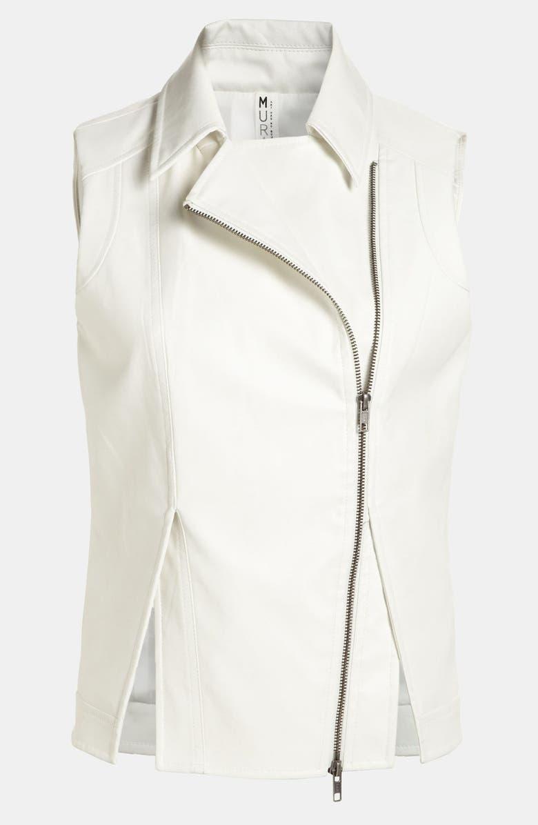 MURAL Faux Leather Vest, Main, color, 100