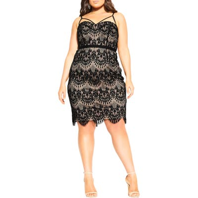 Plus Size City Chic Brianna Lace Cocktail Dress, Black