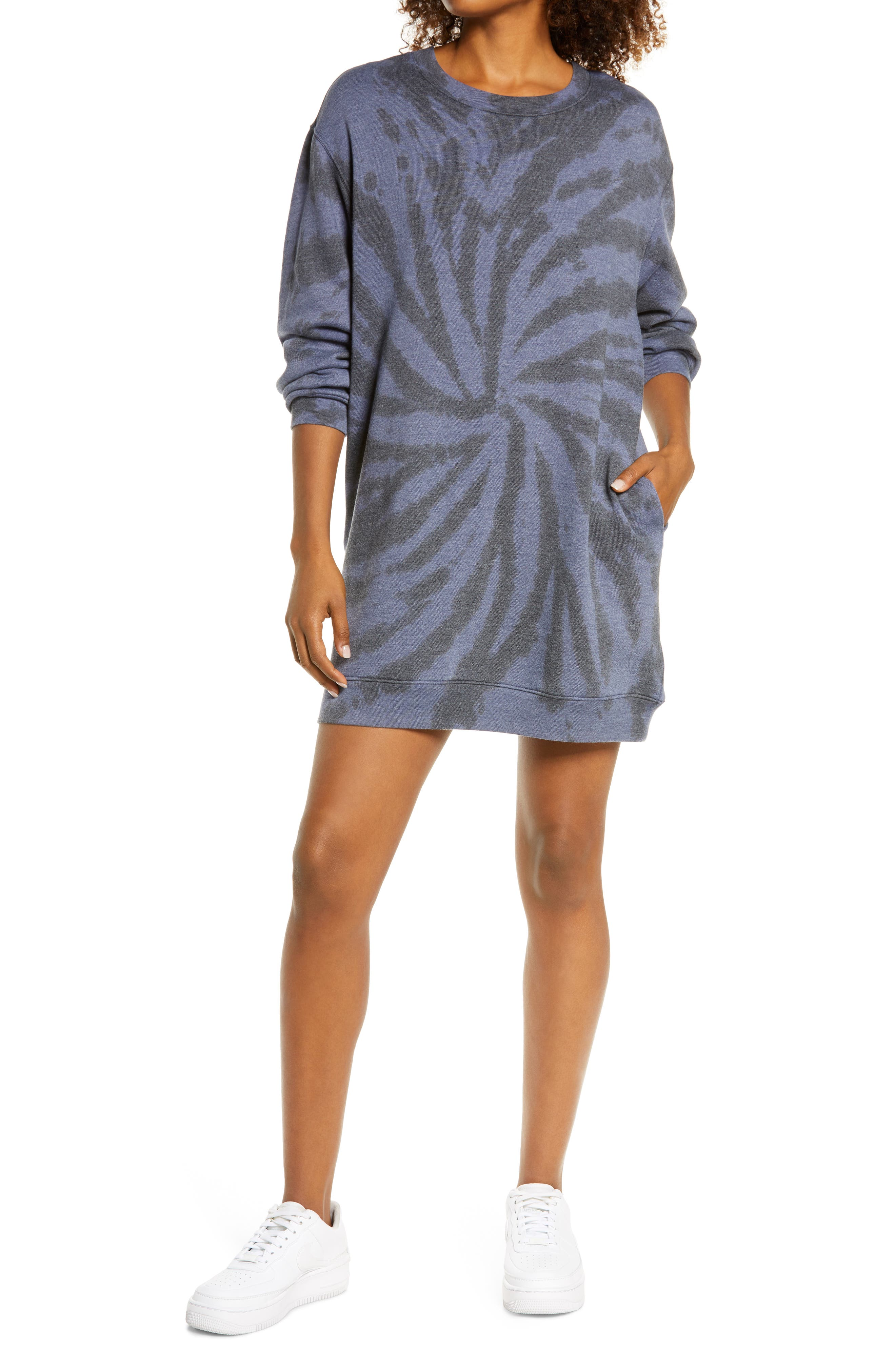 You\\\'ll be ready to run errands or hit the couch for a movie marathon in this cozy cotton-blend sweatshirt-dress that achieves the ultimate in casual comfort. Style Name: Zella Cali Tie Dye Cotton Blend Sweatshirt Dress. Style Number: 6084423. Available in stores.