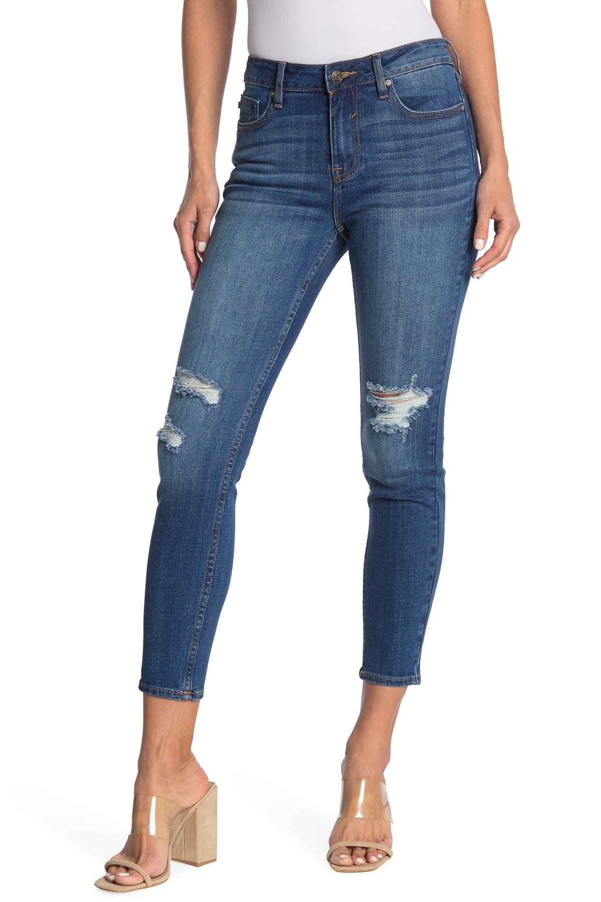 Image of Vigoss Marley Mid Rise Destructed Skinny Jeans