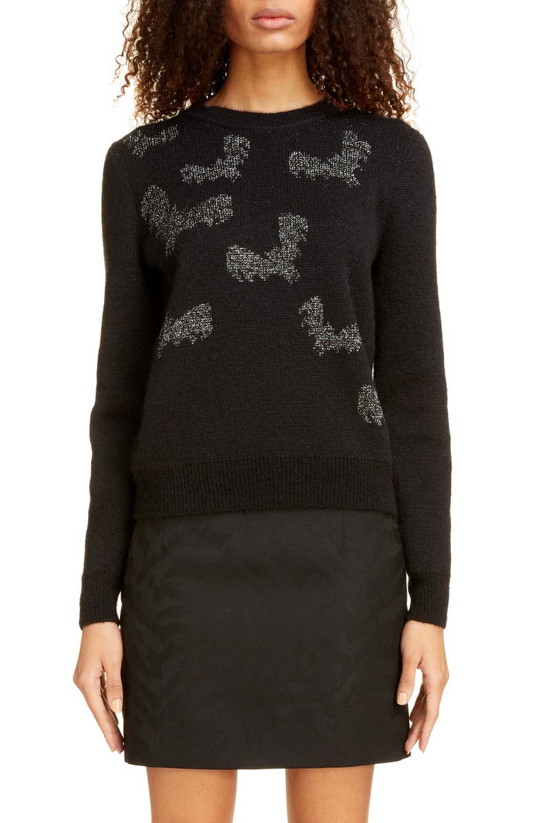 SAINT LAURENT Shimmer Bat Jacquard Sweater, Main, color, NOIR/ ARGENT