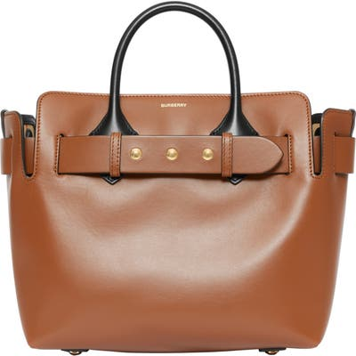 Burberry Small Triple Stud Leather Belt Tote - Brown
