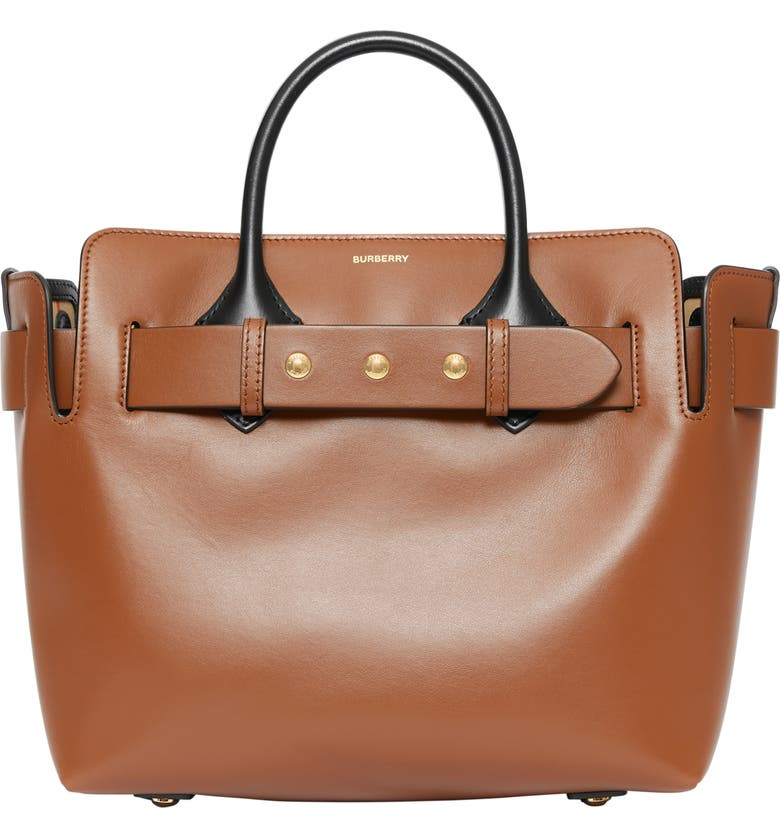 BURBERRY Small Triple Stud Leather Belt Tote, Main, color, MALT BROWN