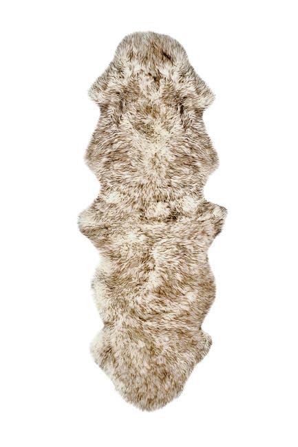 Image of Natural New Zealand Genuine Sheepskin Rug - 2ft x 6ft - Gradient Chocolate