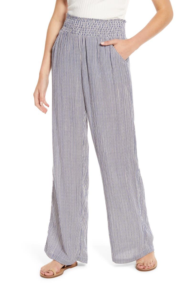 BILLABONG New Waves Stripe Wide Leg Pants, Main, color, WHISPER
