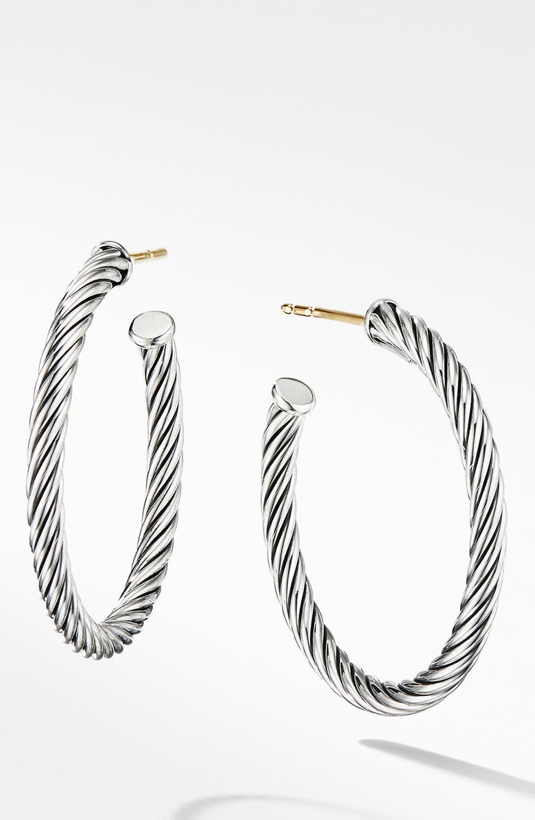 DAVID YURMAN Cable Loop Hoop Earrings, Main, color, SILVER