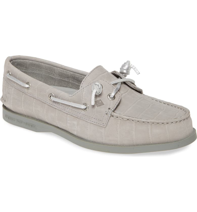 SPERRY Authentic Original Vida Boat Shoe, Main, color, GREY CROCODILE PRINT NUBUCK