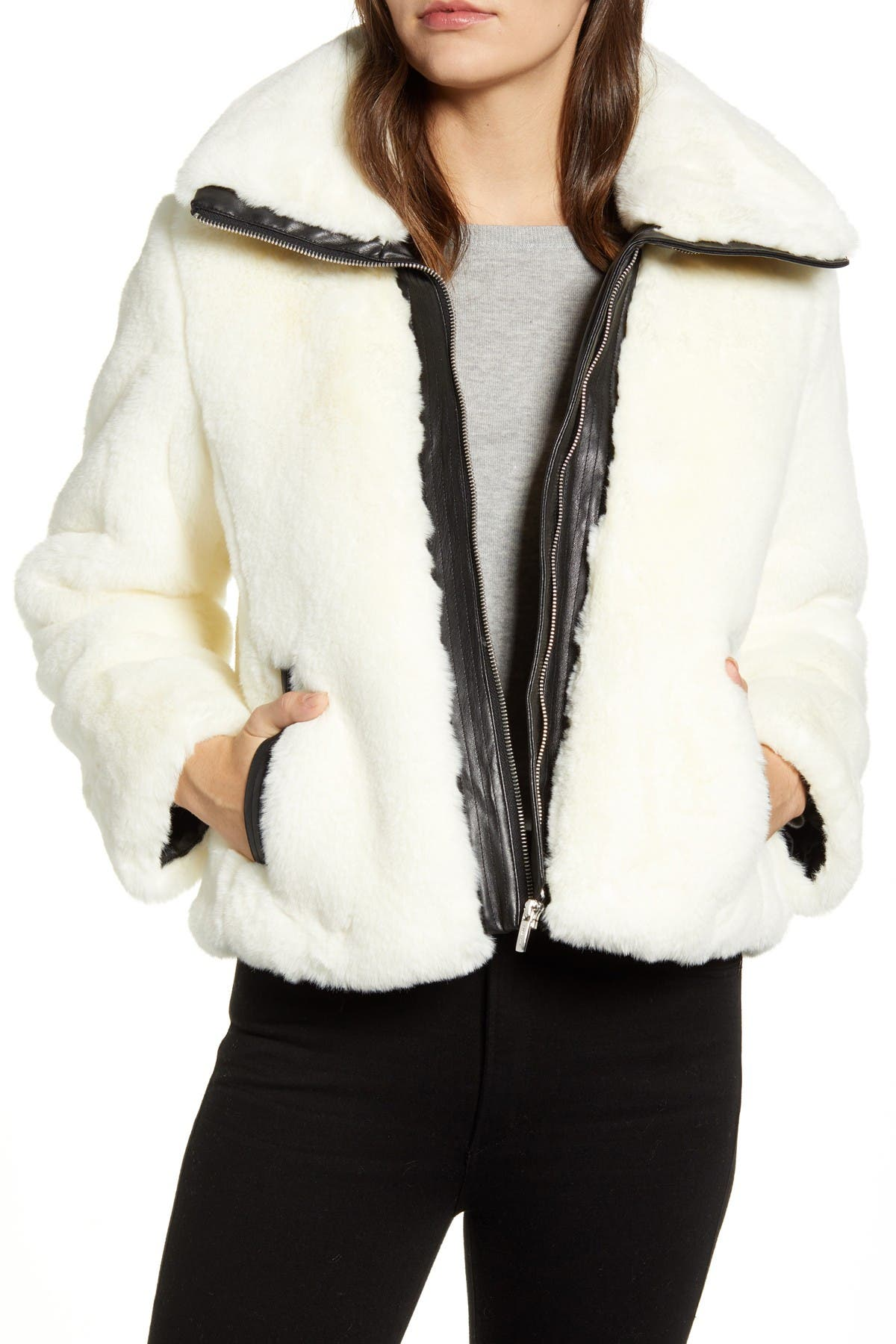Image of Cole Haan Faux Fur Cropped Jacket