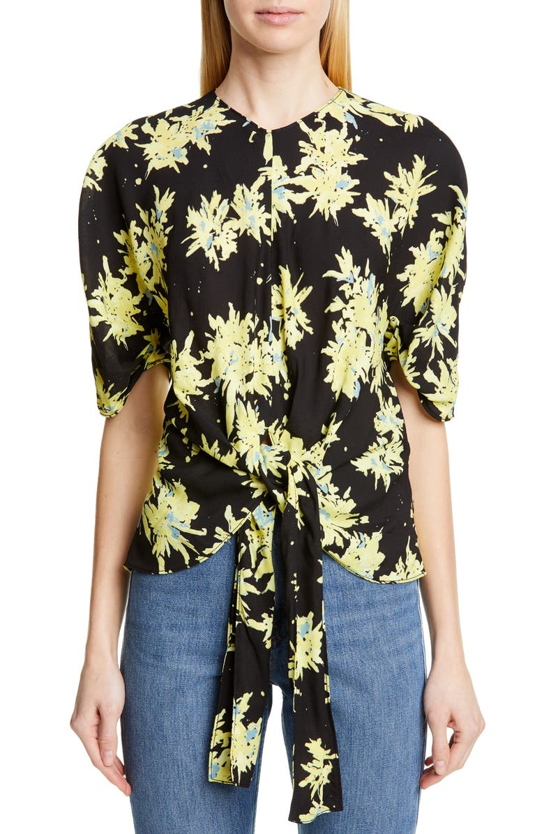 PROENZA SCHOULER Floral Tie Front Silk & Cashmere Blend Top, Main, color, YELLOW/ BLACK