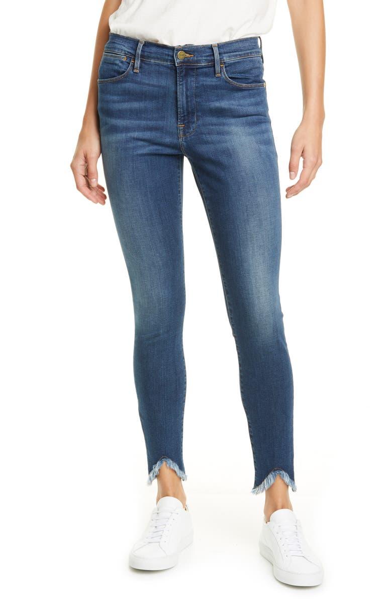 FRAME Le High Waist Triangle Hem Ankle Skinny Jeans, Main, color, SULHAM