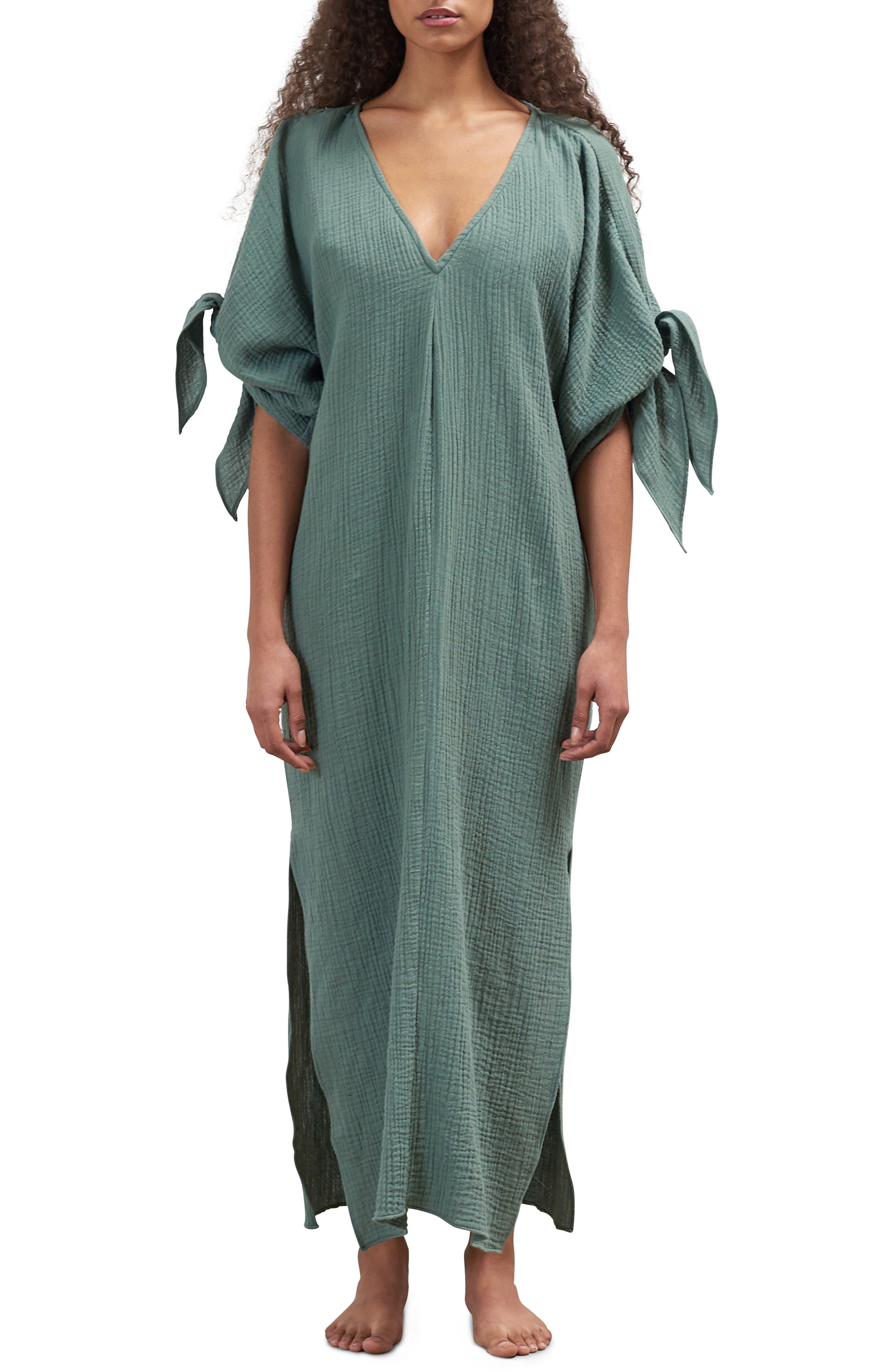 Mara Hoffman Tora Cover-Up Maxi Dress, Green