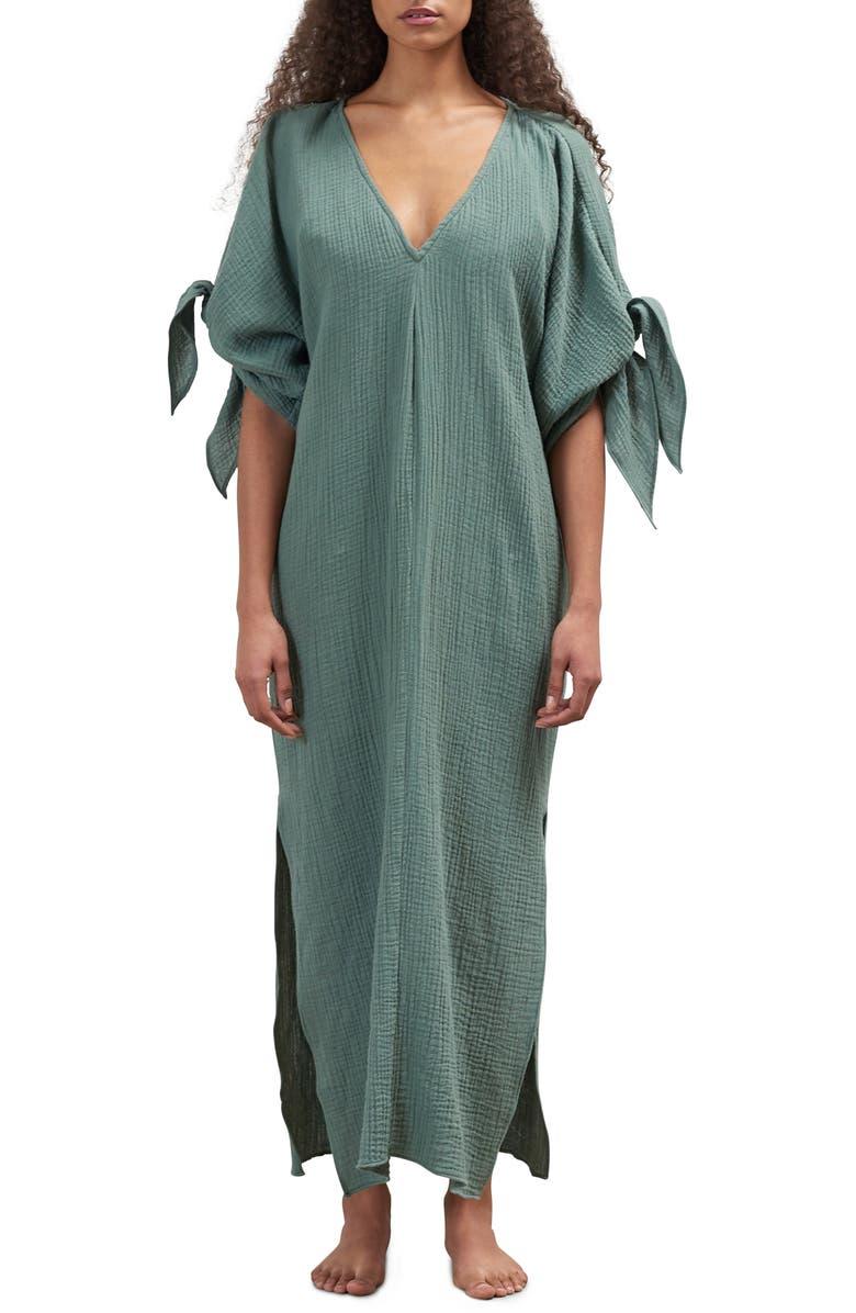 MARA HOFFMAN Tora Cover-Up Maxi Dress, Main, color, SAGE
