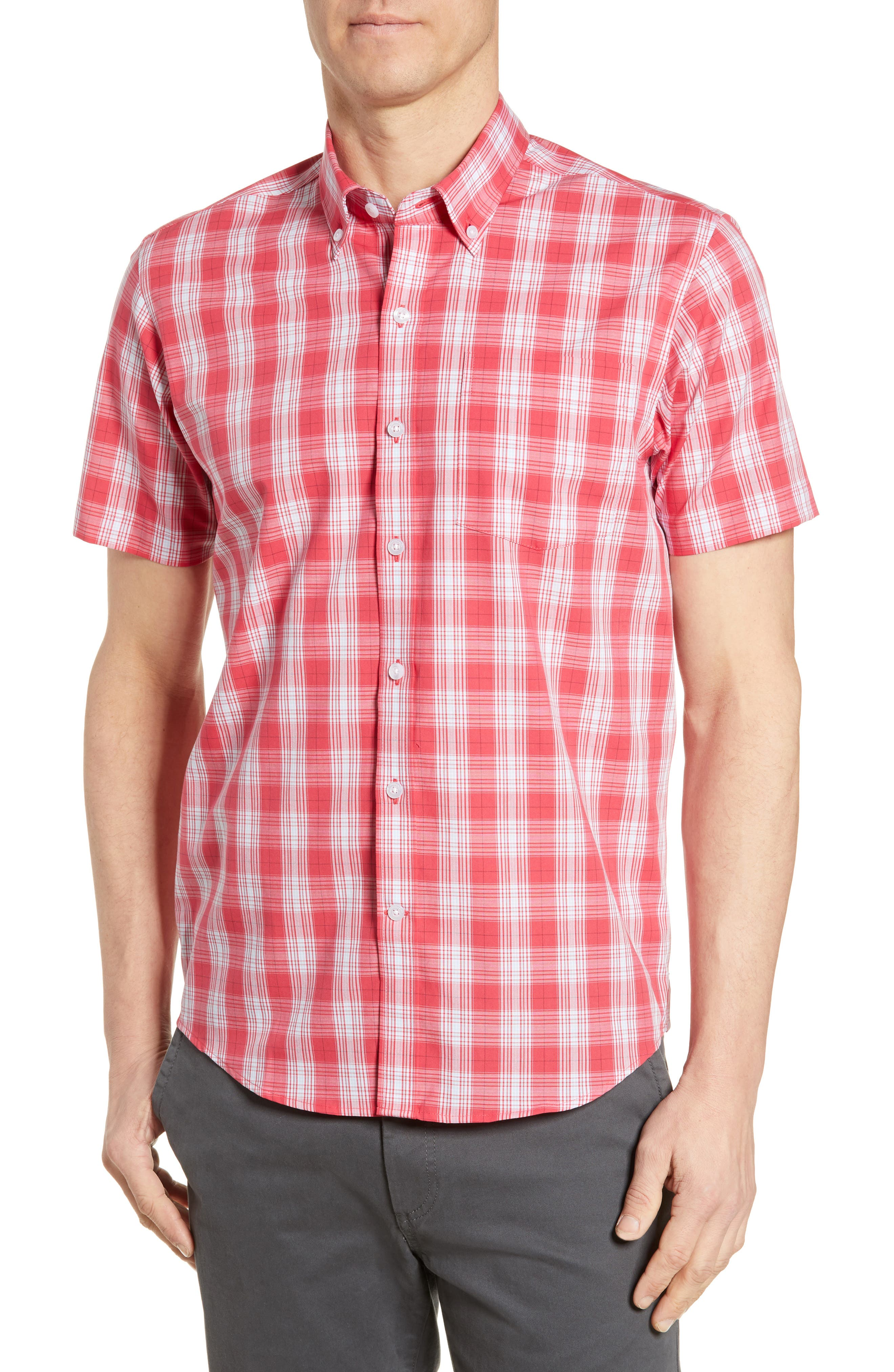 Cutter & Buck Strive Classic Fit Shadow Plaid Sport Shirt,  Red
