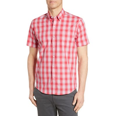 Cutter & Buck Strive Classic Fit Shadow Plaid Shirt, Red