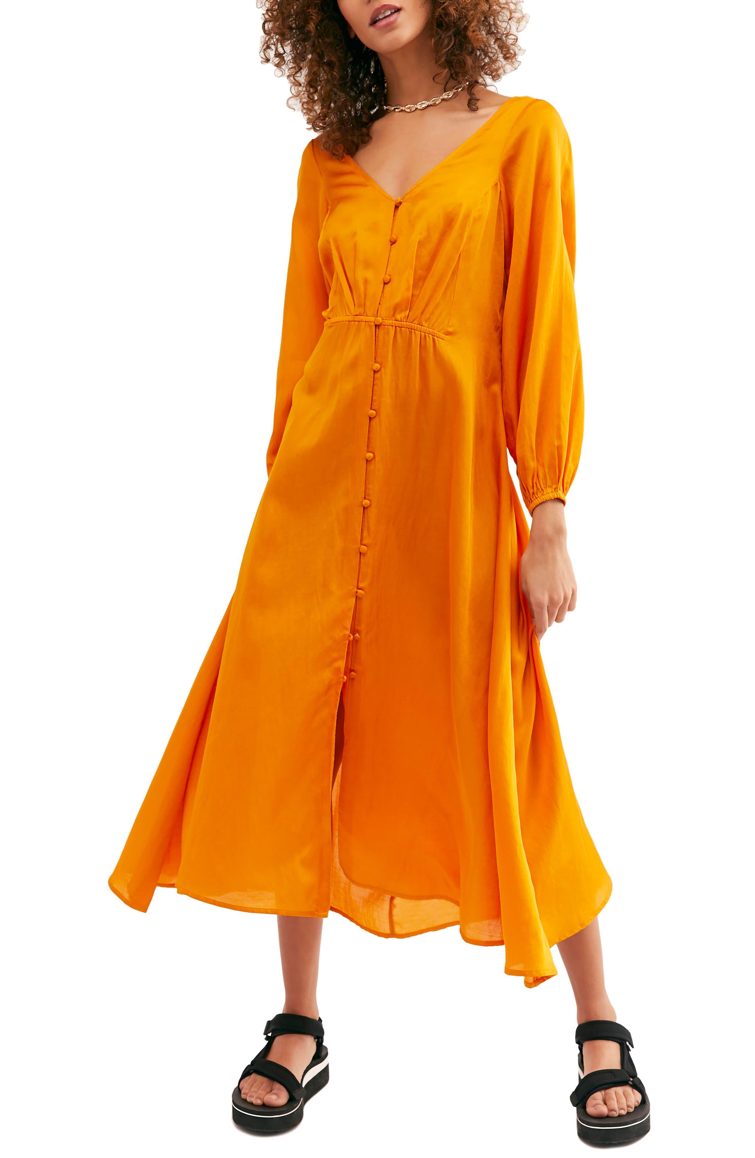 Free People Later Days Midi Dress, Orange