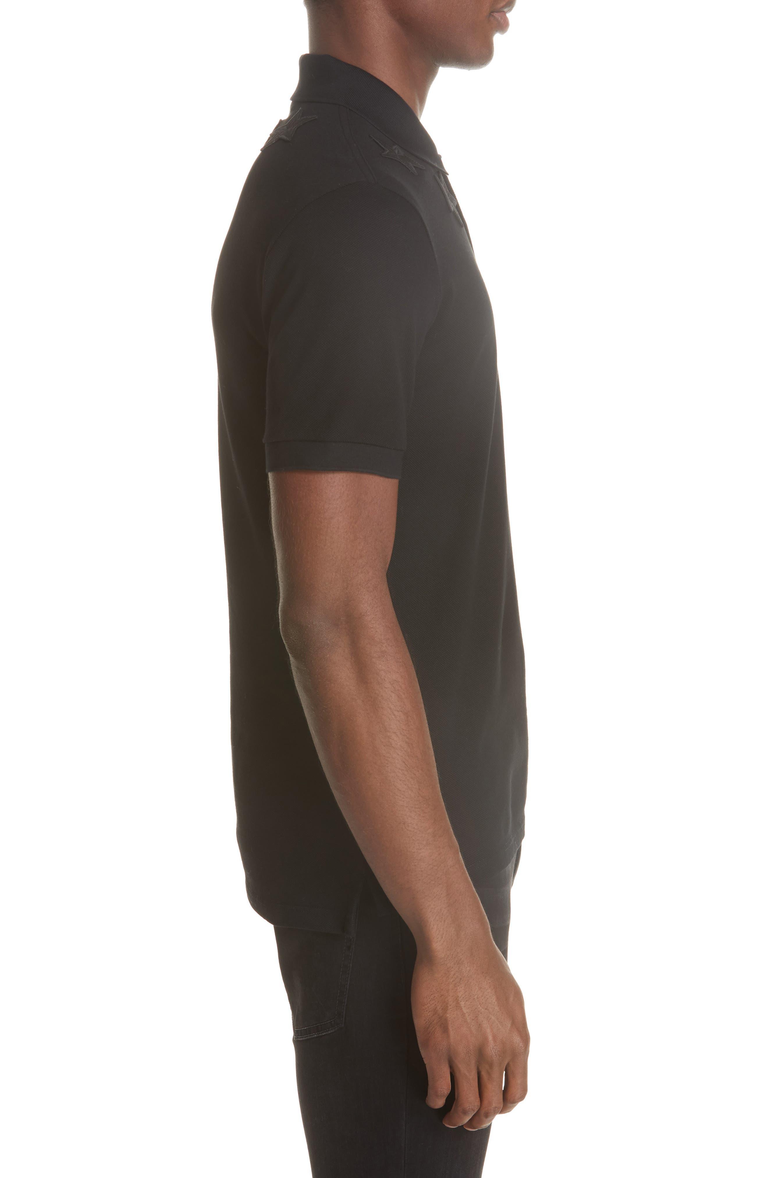 ,                             Star Polo Shirt,                             Alternate thumbnail 3, color,                             FADED BLACK