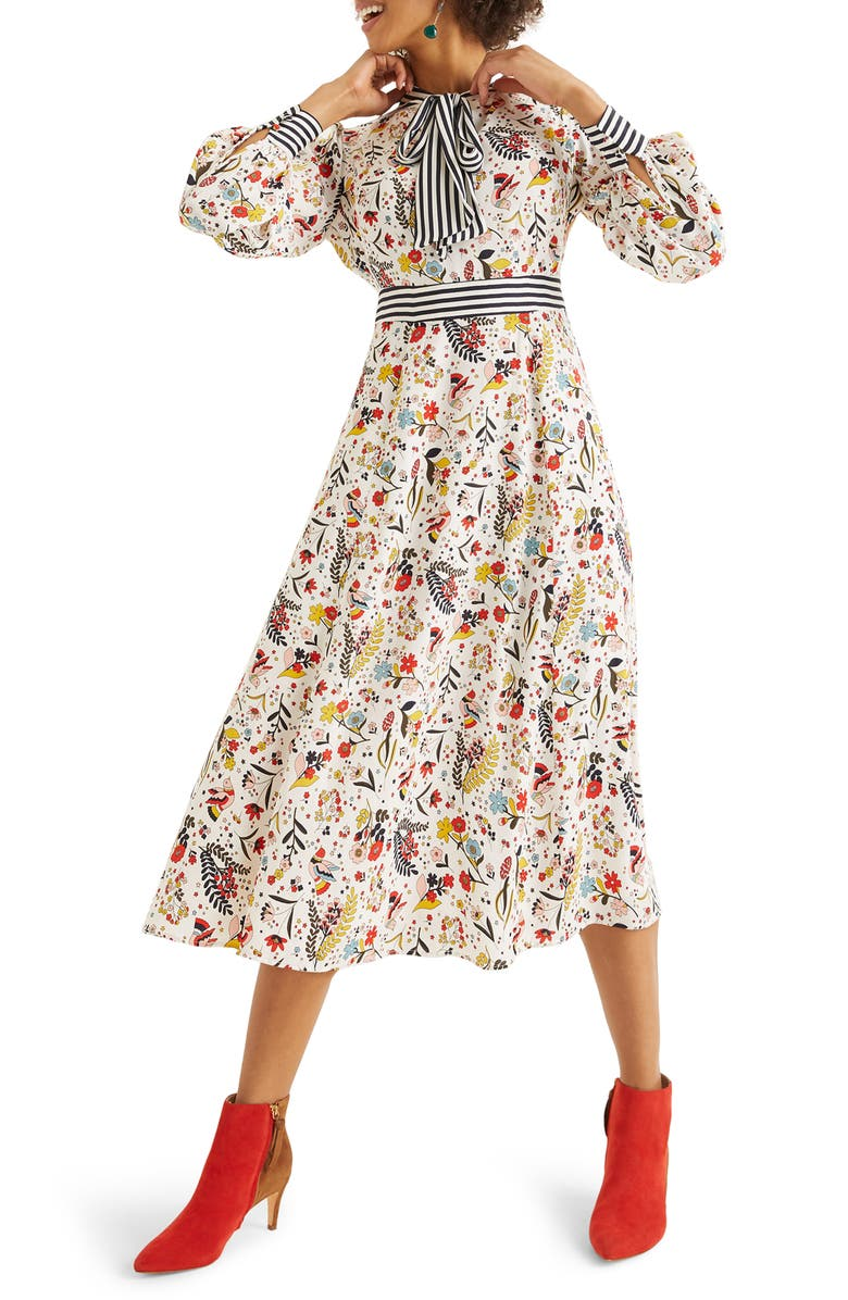 BODEN Thelma Tie Neck Long Sleeve Dress, Main, color, 904