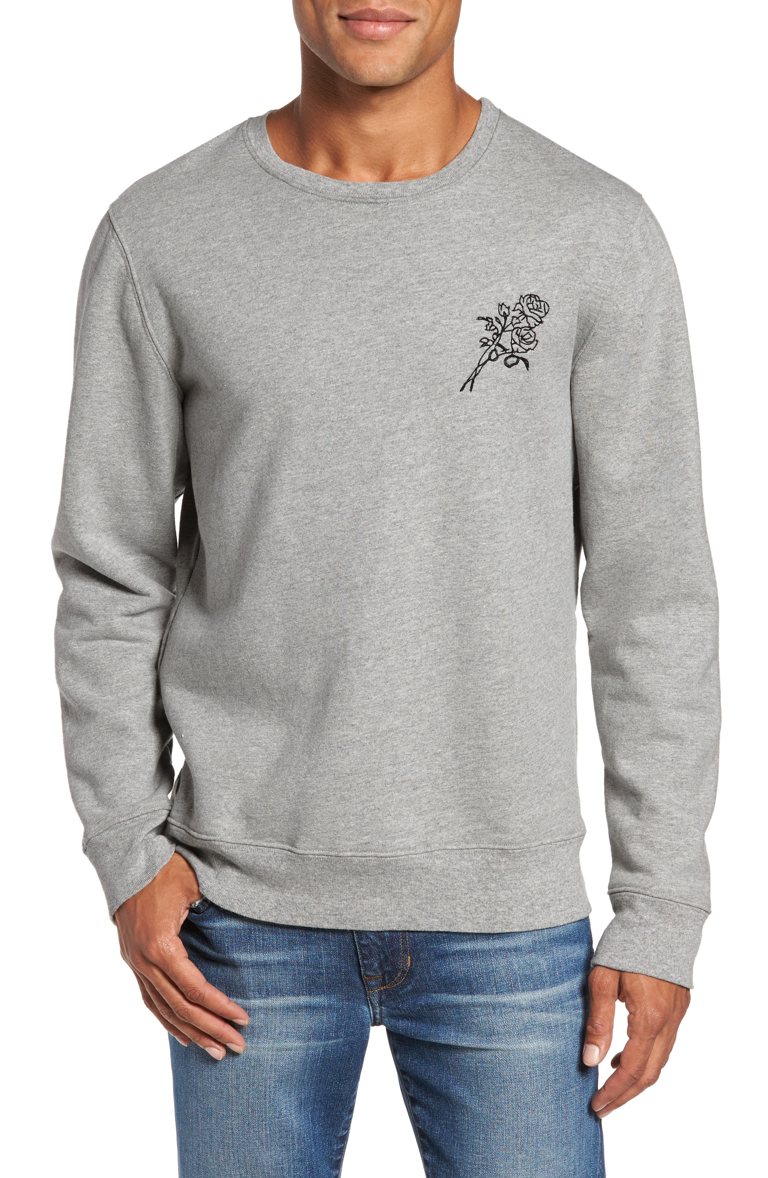 Image of FRAME Rose Embroidered Crew Neck Sweatshirt