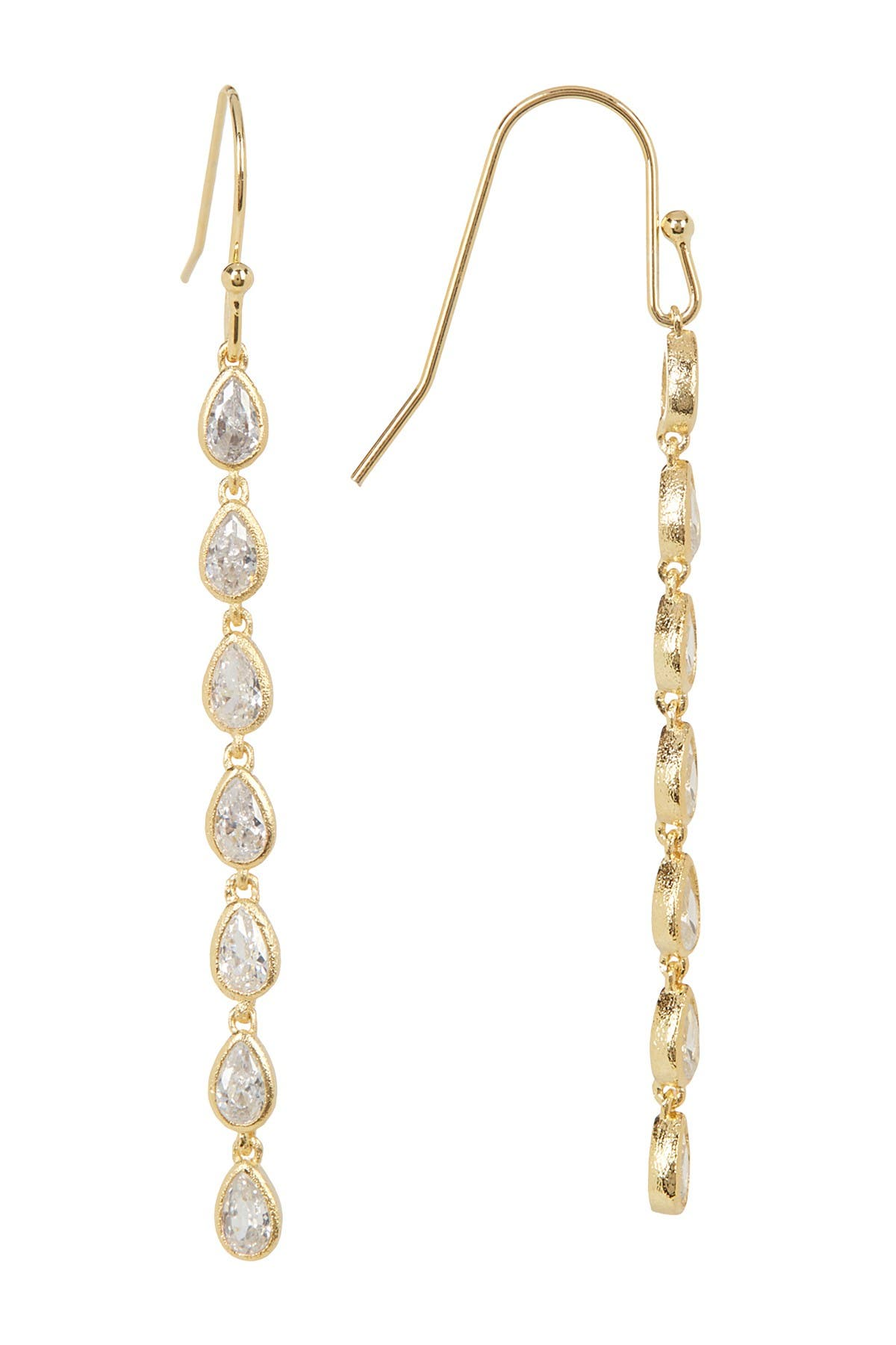Image of Rivka Friedman Linear Simulated Diamond Teardrop Earrings