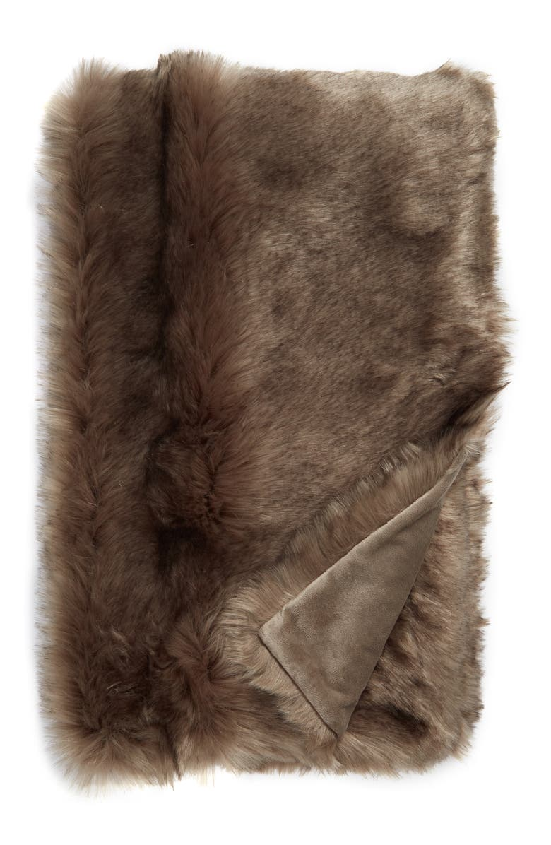NORDSTROM Arctic Faux Fur Throw Blanket, Main, color, BROWN BRINDLE MULTI