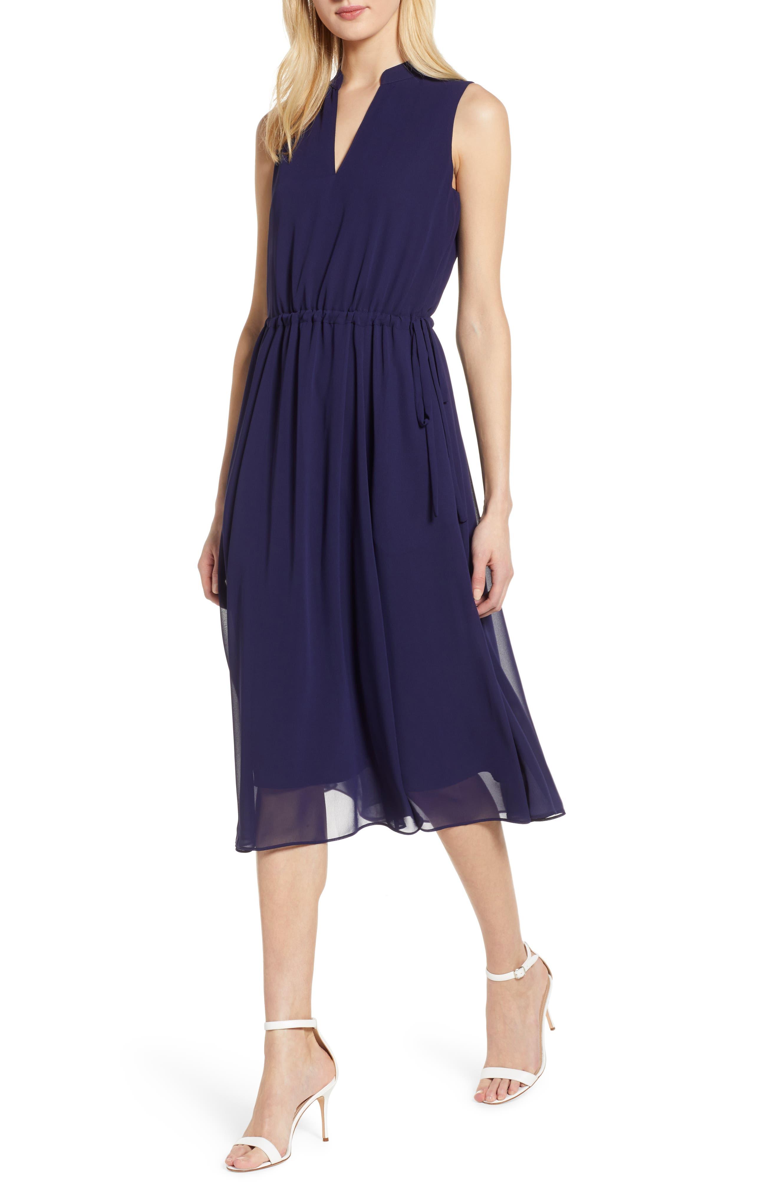,                             Chiffon Drawstring Midi Dress,                             Main thumbnail 1, color,                             DISTANT MOUNTAIN