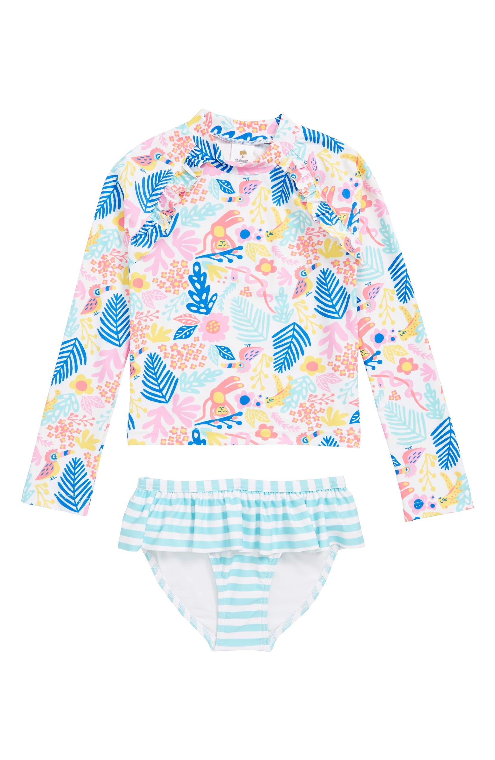 32cd63b0a2 Tucker + Tate Ruffle Two-Piece Rashguard Swimsuit (Toddler Girls, Little  Girls & Big Girls)) | Nordstrom