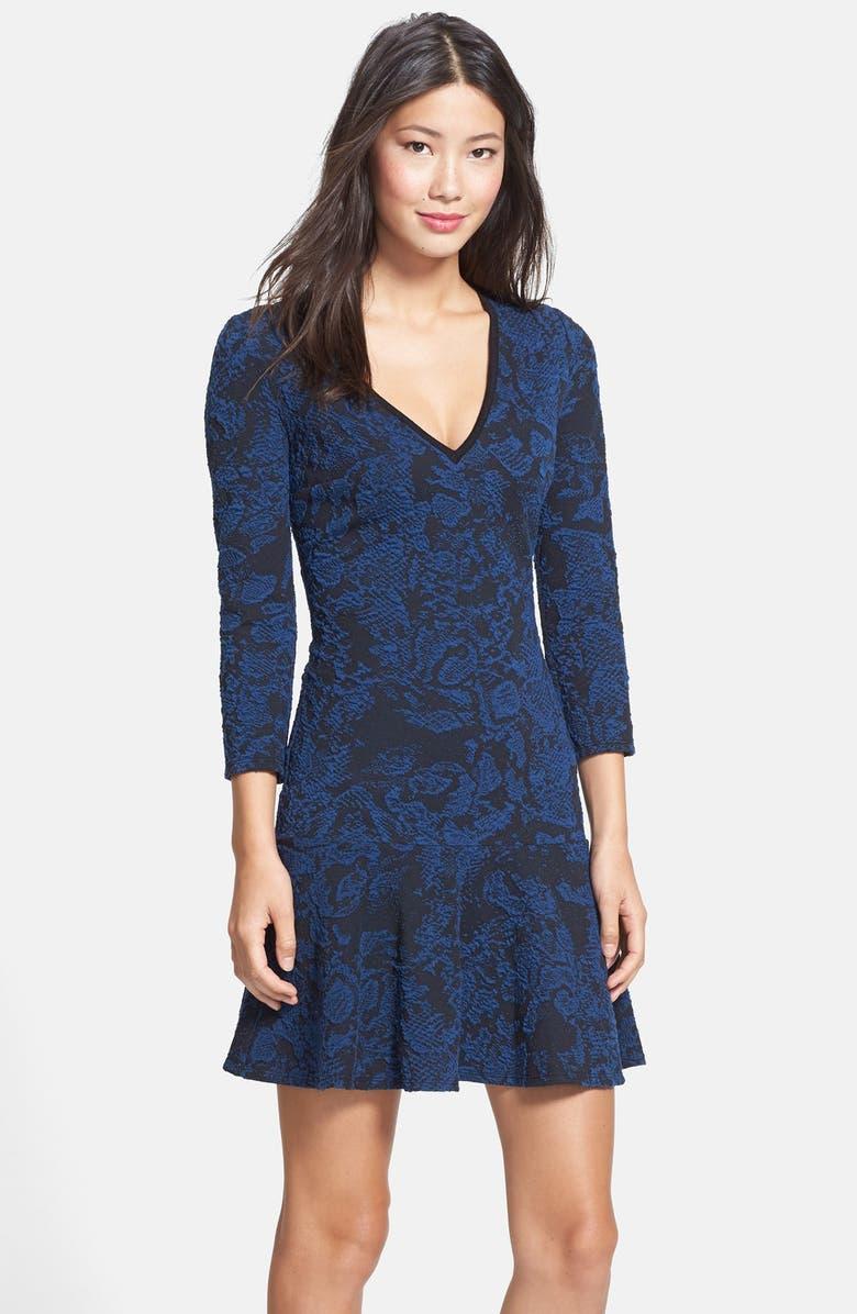 PLENTY BY TRACY REESE 'Hope' Jacquard Knit Tulip Hem Dress, Main, color, 002