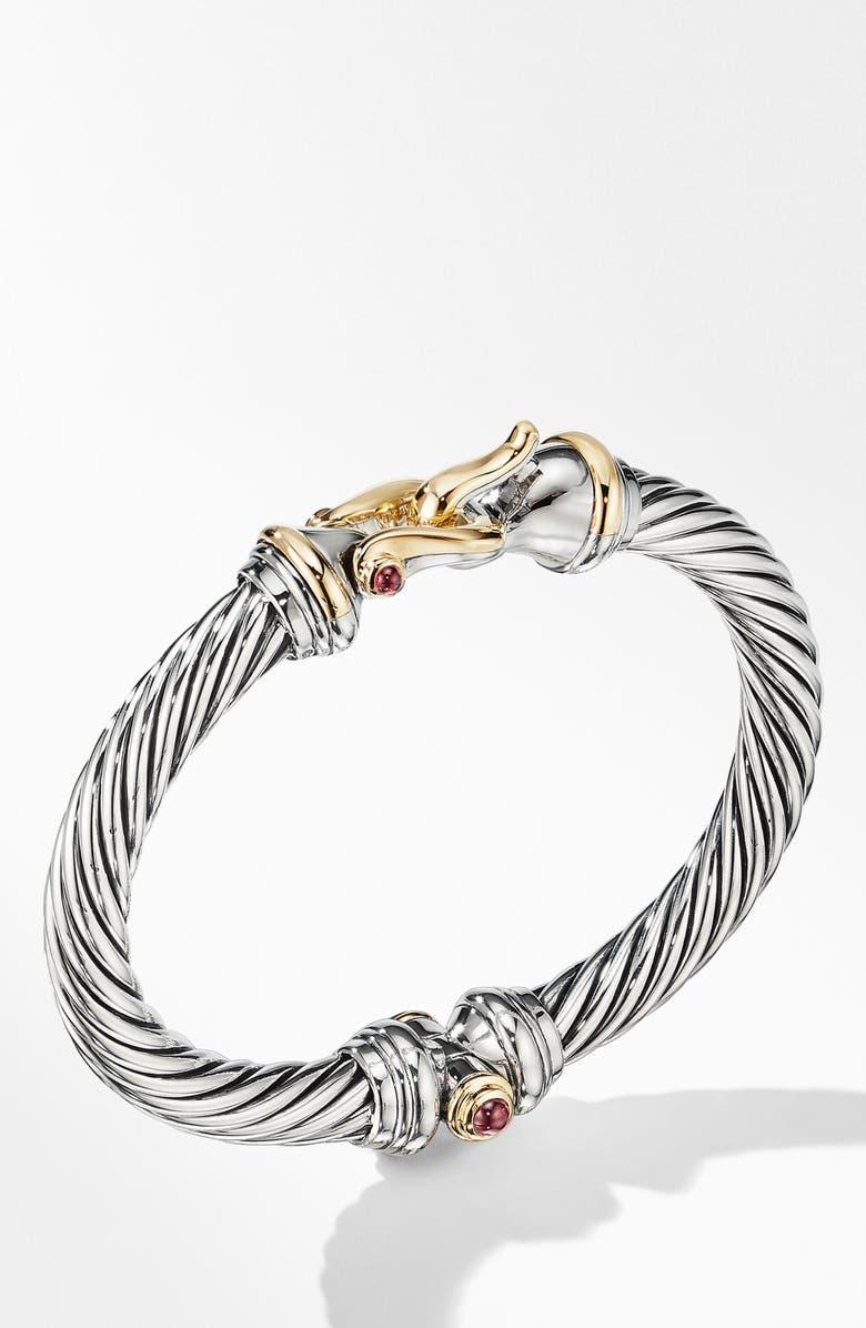 DAVID YURMAN Cable Buckle Bracelet with 18K Yellow Gold and Rhodalite Garnet, Main, color, RHODOLITE GARNET