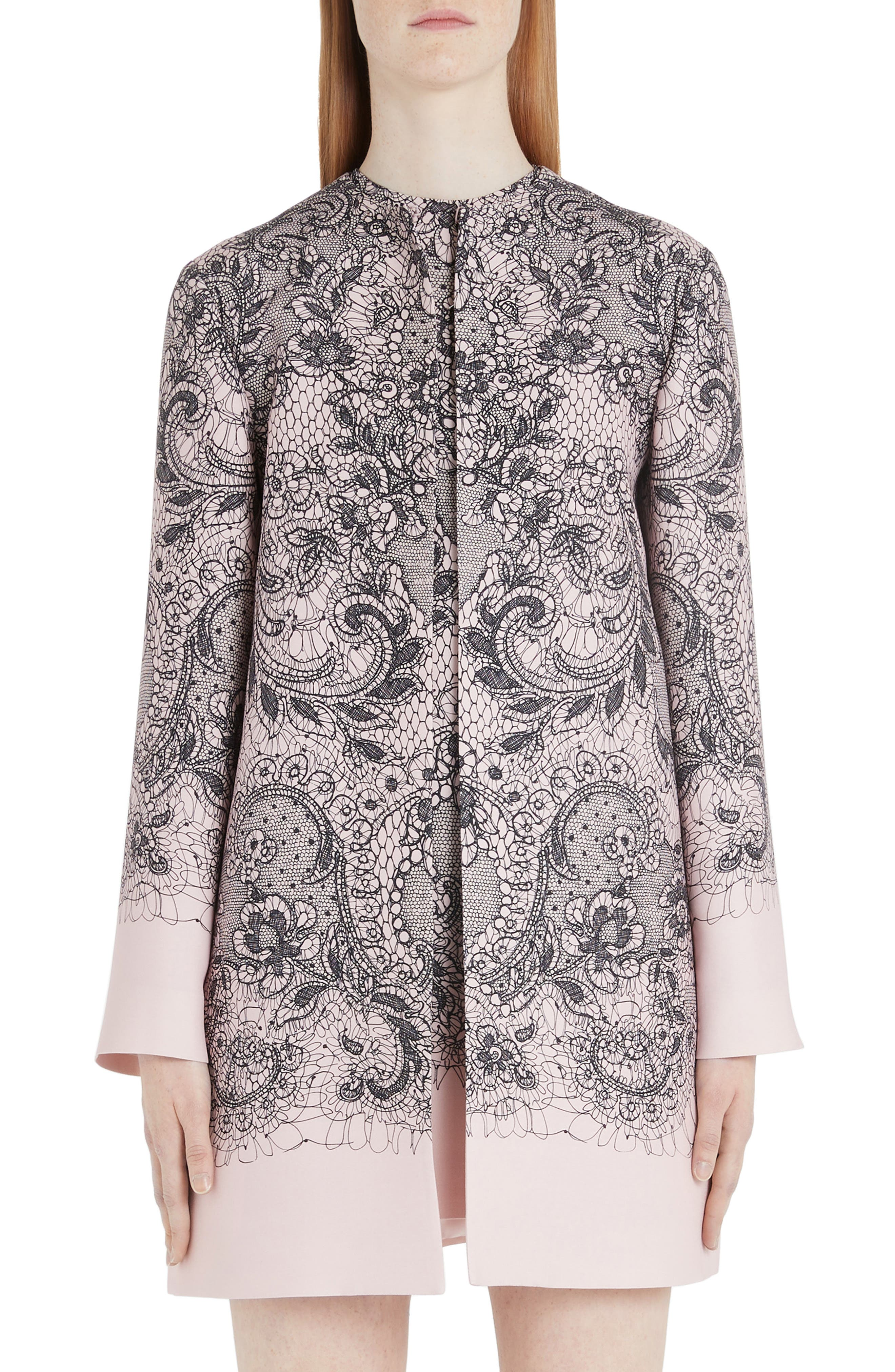 Valentino Coats Lace Print Wool & Silk Crepe Topper