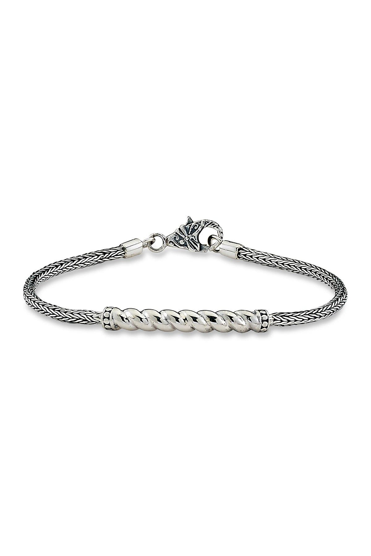 Image of Samuel B Jewelry Sterling Silver 2.5mm Tulang Naga Twisted Cable Design Bar Bracelet