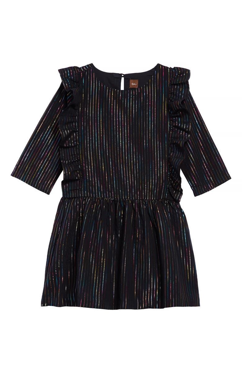 TEA COLLECTION Rainbow Metallic Stripe Ruffle Dress, Main, color, JET BLACK