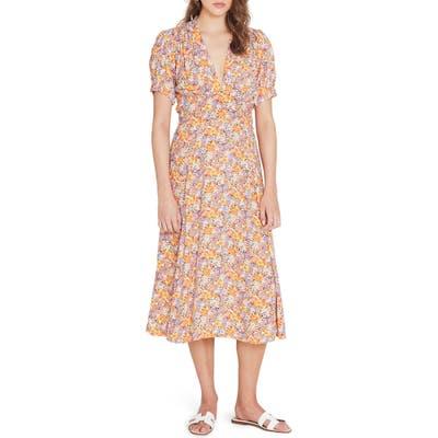 Faithfull The Brand Meadows Floral Midi Dress, Orange