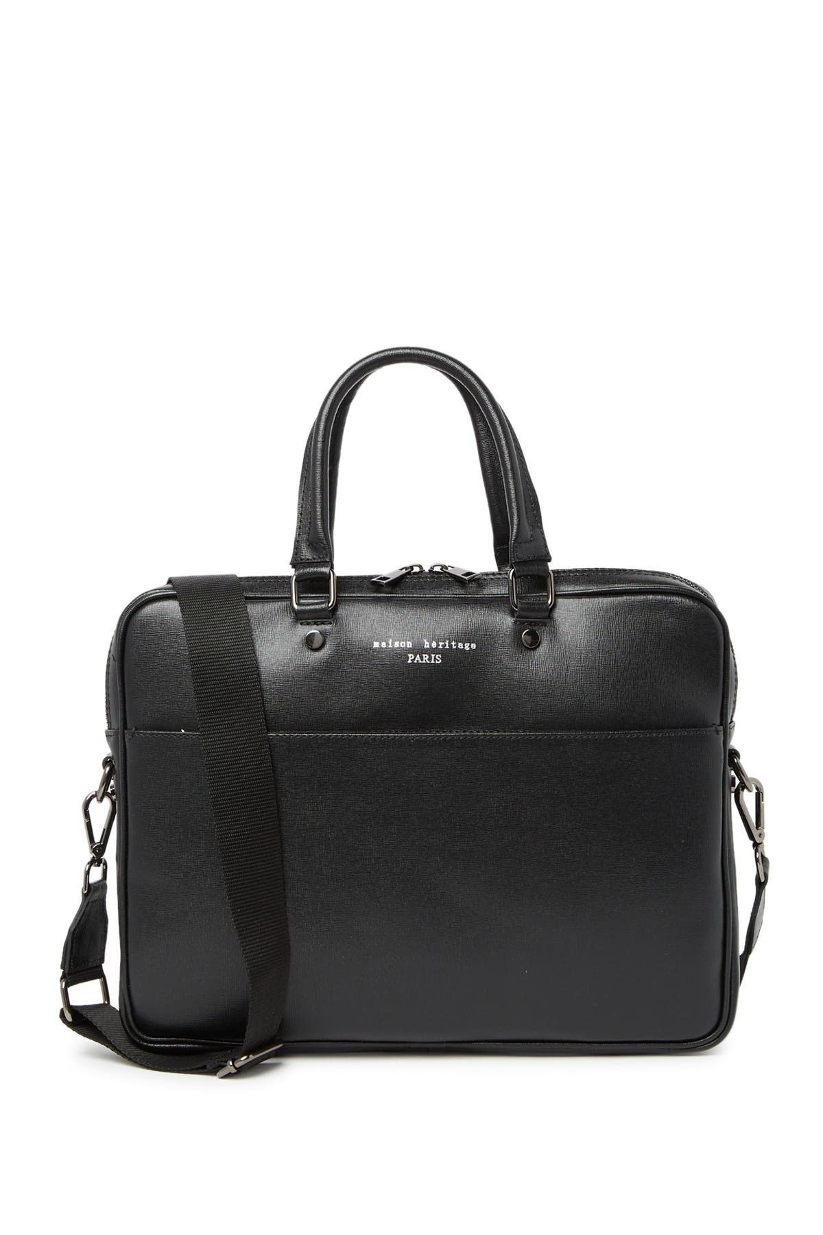 Image of Maison Heritage Leather Briefcase Shoulder Bag