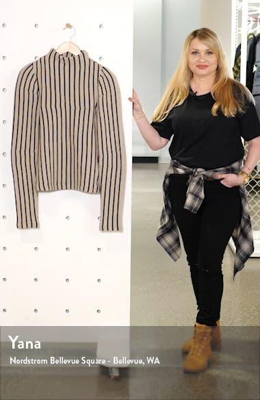 Funnel Neck Stripe Wool Blend Sweater, sales video thumbnail