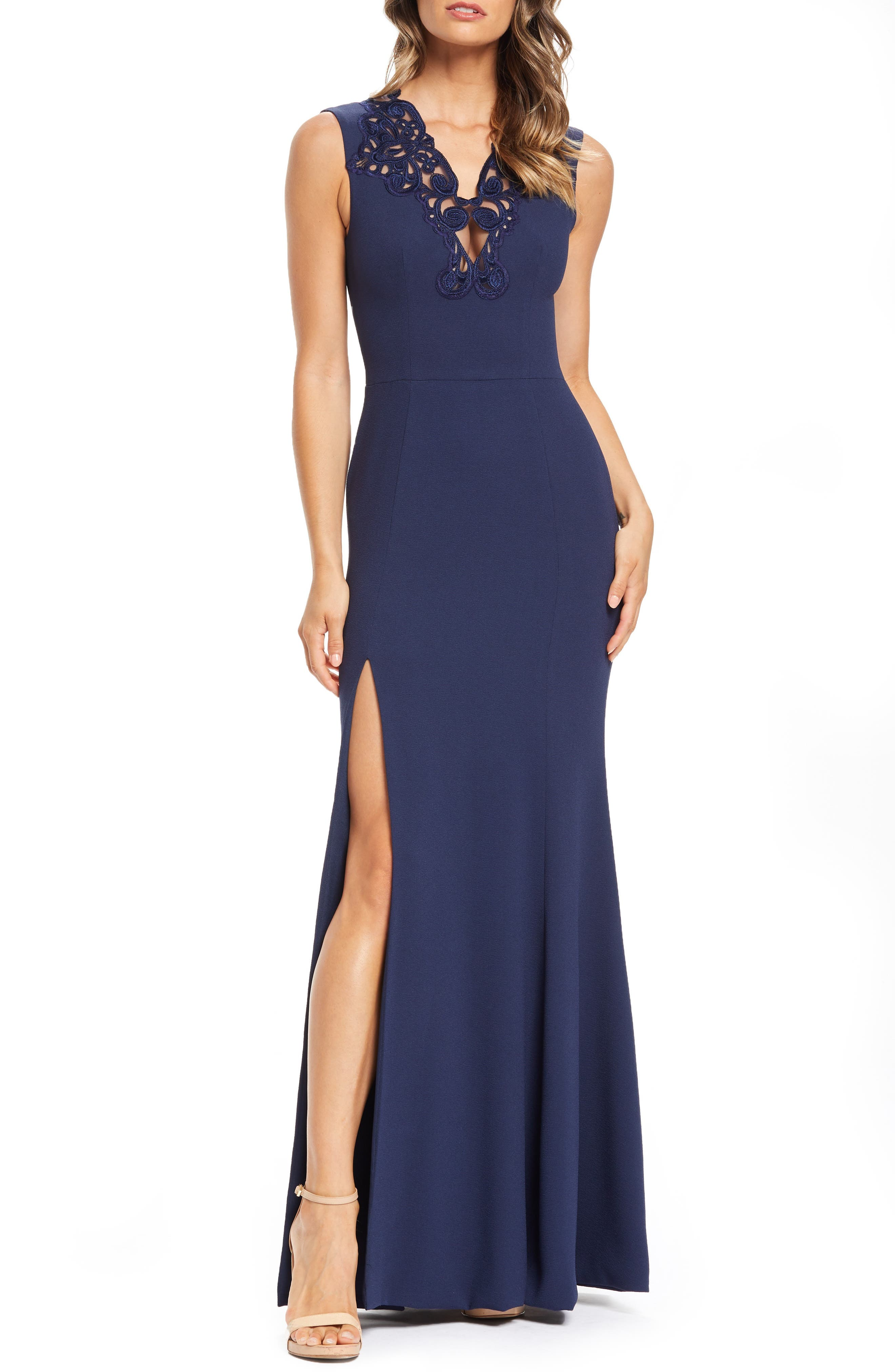 Dress The Population Cassandra Embroidered Evening Dress, Blue