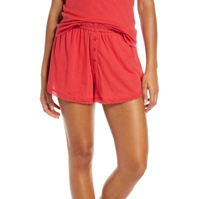 The Great. The Lace Pajama Shorts, Red