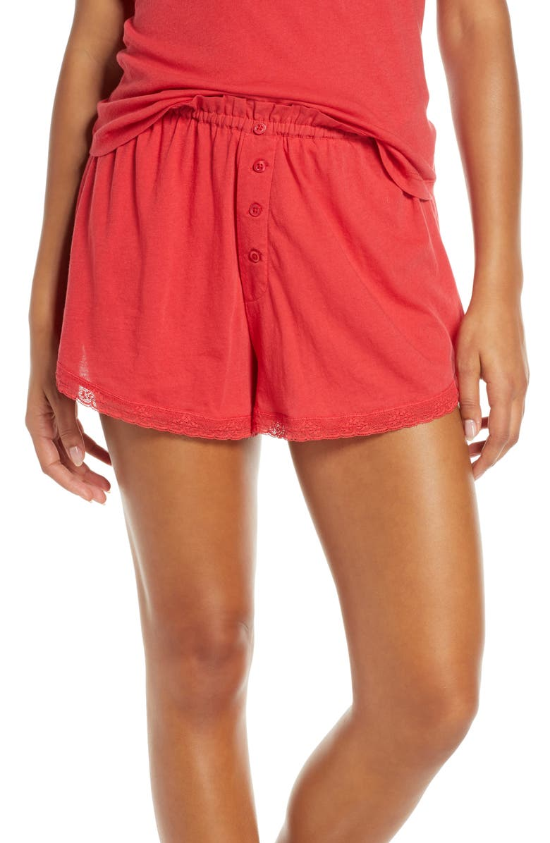 THE GREAT. The Lace Pajama Shorts, Main, color, TEABERRY